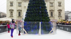 Ice Rink And Christmas Tree in the Central Christmas Market In Budapest Stock Footage