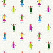 Seamless pattern people geometry colorful Stock Illustration