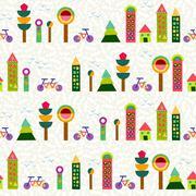 Seamless pattern city background geometry colorful Stock Illustration