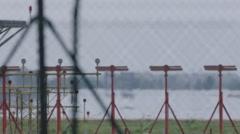 Plane airport aeroplane sky zoom landing Stock Footage