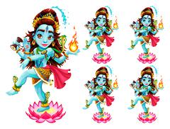 Funny representation of eastern god in 5 different eye colors Stock Illustration