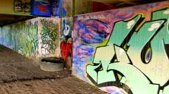 Graffiti under Bridge - stock footage