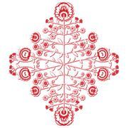 Polish folk inspired floral red and whitepattern on white background  3d Stock Illustration