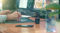 Graphic Designer working with digital Drawing tablet Stock Footage
