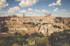 Stock Photo of Toledo, Spain old town cityscape at the Alcazar.