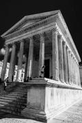 Roman temple Maison Carree in city of Nimes, France.. - stock photo