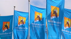 Video of flags with Australian Open logos Stock Footage
