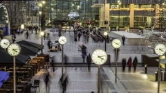 Timelapse of commuters and clocks Stock Footage