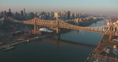 Queensboro Bridge and Roosevelt Island New York Aerial Stock Footage