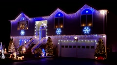 4K Christmas lights, house decorations - stock footage