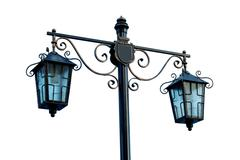 lamp on the street in park. black streetlight from metal - stock photo
