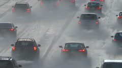 Los Angeles Freeway Rain Storm with Zoom Stock Footage