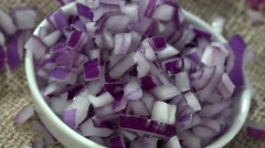 Red Onion Dices (not loopable, 4K) Stock Footage