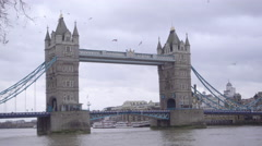 Historical London Bridge on a cloudy wintery day Stock Footage