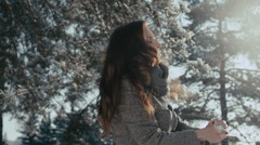 Sunny Winter Joyful Woman Throwing Snow Happiness Outdoors, sunny winter day Stock Footage