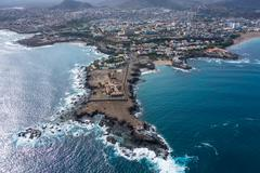 Aerial view of Praia city in Santiago - Capital of Cape Verde Islands - Cabo  - stock photo