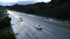 Los Angeles  Freeway Rain Time Lapse Stock Footage