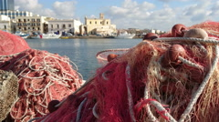 Fishing nets on the docks in Gallipoli, Italy Stock Footage
