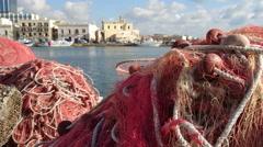 Fishing nets on the docks in Gallipoli, Italy - stock footage