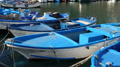 Traditional fishing boats docked in the port of Gallipoli Stock Footage
