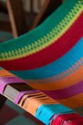 Closeup of Colorful deck chair - stock photo