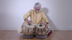 Drummer percussion indian music performer art beats Stock Footage