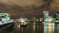 London city  skyline financial business skyscrapers night Stock Footage