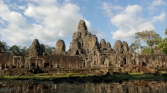 TIMELAPSE Angkor Thom with reflection and tourists,Siem Reap,Cambodia Stock Footage