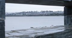Derry waterfront through a wall window Stock Footage
