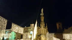 People walking on Christmas night in the old town of Nardo', Italy - stock footage