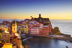 Vernazza village, aerial view on sunset. Cinque Terre, Ligury, Italy Stock Photos