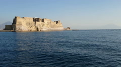 View from the sea of Castel dell'Ovo in Naples, Italy - stock footage