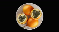 Passion fruit maracuja granadilla Stock Footage