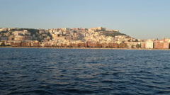 Buildings facing the seafront of Naples, Italy Stock Footage