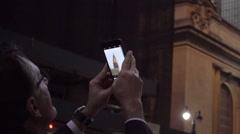 Traveler man glasses taking smartphone picture landmark skyscraper NYC Stock Footage