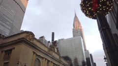 MetLife Building, Grand Central Terminal, and Chrysler Building on holidays NYC Stock Footage