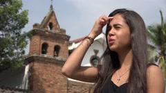 Stock Video Footage of Happy Teen Hispanic Girl Praying at Church