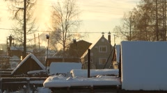 Snowy hills in Russian countryside in morning - stock footage