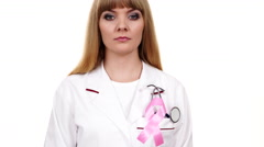 Woman doctor with stethoscope pink ribbon aids symbol 4K Stock Footage