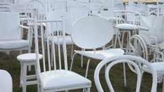 Empty White Chairs Memorial, Christ Church, NZ Stock Footage