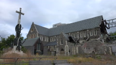 Christ Church Cathedral earthquake damage on a gray day Stock Footage