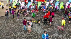 Cyclist after race at Hong Kong Cyclothon. 4K resolution time lapse. Stock Footage