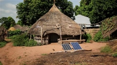 Solar energy west africa village Stock Footage