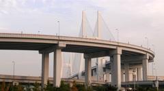 Shanghai - Nanpu Bridge Interchange. 4K resolution speed up. Stock Footage