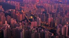 Hong Kong evening aerial view of dense populated area of Kowloon. 4K resolution - stock footage