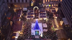 Aerial City View And Christmas market in St. Stephen Square, Budapest - Tilt Up - stock footage