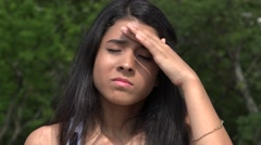 Teen with Headache or Fever Stock Footage