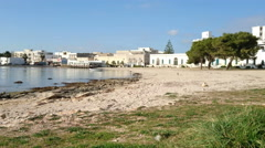 Empty beach in winter in Porto Cesareo, a famous tourist town in Italy Stock Footage