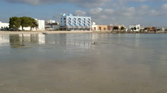 Empty beach in winter in Porto Cesareo, a famous tourist town in Italy - stock footage
