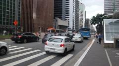 View of skyscrapers along Avenida Paulista Stock Footage